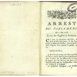 Arrest du Parlement [de Provence] du 2 mai 1768, extrait des registres du Parlement