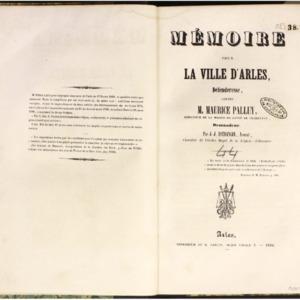 Mémoire pour la ville d'Arles, défenderesse contre M. Maurier Palluy demandeur
