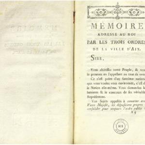 Mémoire adressé au roi par les trois ordres de la ville d'Aix