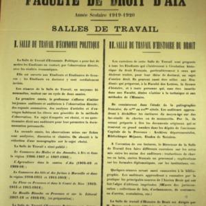 Economie (L') politique à la Faculté de droit d'Aix
