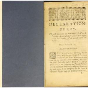 Déclarations du Roy et ordonnances de Monseigneur le premier président et intendant datées de 1689 à 1729 (recueil factice contenant des déclarations datées de 1689 à 1729)
