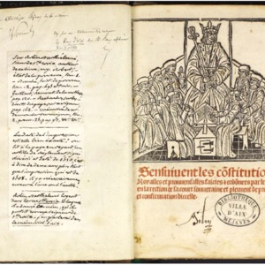 Sensuivent les constitutions royalles et prouvensalles faictes et ordonnees par le roy en la rection de la court souveraine... de Provence...