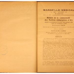 Histoire de la communauté des Maîtres chirurgiens d'Aix depuis le commencement du XVe siècle jusqu'à 1792, d'après des documents inédits
