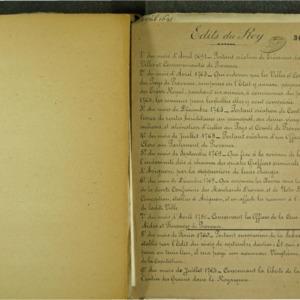 Edits du Roy, datés de 1691 à 1781