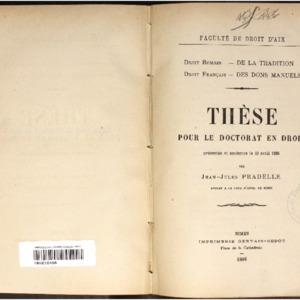 De la tradition en droit romain ; Des dons manuels en droit français : thèse présentée et soutenue le 10 avril 1886