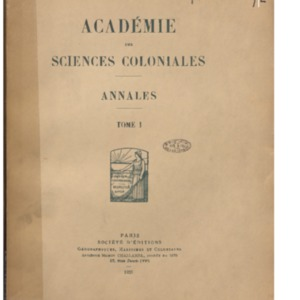Annales / Académie des sciences coloniales