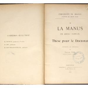 """De la """"manus"""" en droit romain : thèse présentée et soutenue devant la faculté de droit d'Aix"""