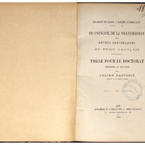 Du principe de la transmission des dettes héréditaires en droit français : thèse pour le doctorat