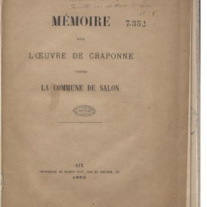 Mémoire pour l'Oeuvre de Craponne contre la commune de Salon