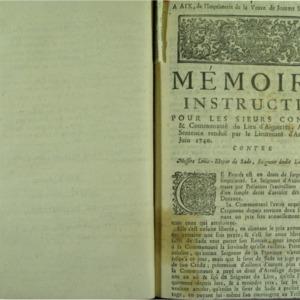 Mémoire instructif, pour les sieurs Consuls & communauté du lieu d'Aiguieres, apellans de sentence renduë par le lieutenant d'Arles le 25 juin 1740. contre messire Loüis-Elzear de Sade, seigneur dudit lieu, intimé