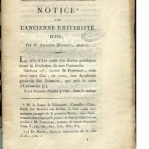 Notice sur l'ancienne université d'Aix