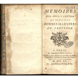 Mémoires pour servir à l'histoire de plusieurs hommes illustres de Provence