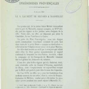 Ephémérides provençales. Le 3 février 1603, le B. Laurent de Brindes à Marseille