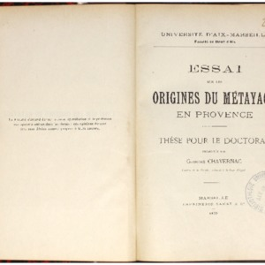 Essai sur les origines du métayage en Provence : thèse pour le doctorat