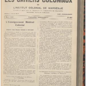 Enseignement (L') médical colonial : création d'un Hôpital Colonial à la Faculté Mixte de Médecine Générale et Coloniale et de Pharmacie de Marseille