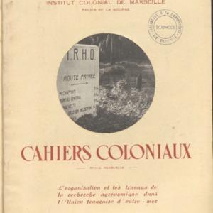 organisation (L') et les travaux de la recherche agronomique dans l'Union Française d'Outre-Mer