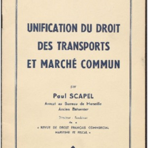 Unification du droit des transports et Marché Commun