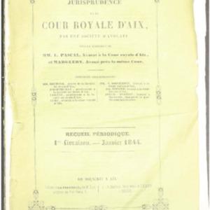 Jurisprudence de la Cour royale d'Aix : recueil périodique