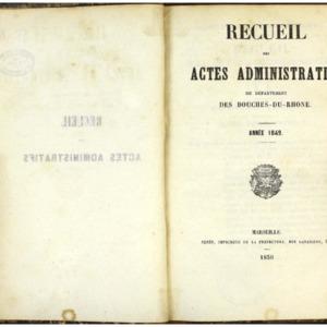 Recueil des actes administratifs du département des Bouches-du-Rhône