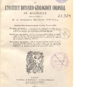 Annales de l'Institut botanico-géologique colonial de Marseille