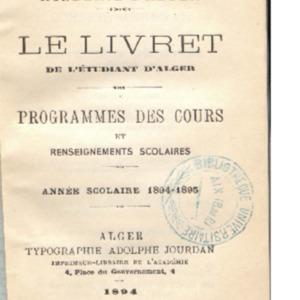 Livret (Le) de l'étudiant d'Alger