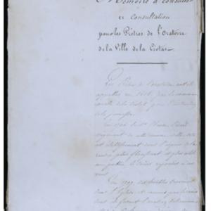Mémoire à consulter et consultation pour les prêtres de l'Oratoire de la ville de La Ciotat, délibéré à Aix le 12 octobre 1768