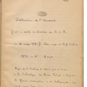 Délibération de l'Université contre un arrêté du Directoire des B.-d.-R du 18 octobre 1790
