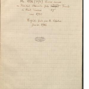 Bibliothèque Méjanes, MS 1296 (1178) : Oeuvres diverses du Président Alexandre-Jules-Antoine Fauris de Saint-Vincens, vers 1780. Copie faite par M. Sabatier, janvier 1926