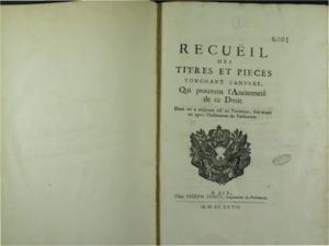 Recueil des titres et pièces touchant l'Annexe, qui prouvent l'Ancienneté de ce Droit, dont on a toujours usé en Provence, soit avant ou après l'institution du Parlement