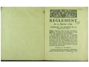 Règlement du 25 janvier 1762 concernant les greffiers de la communauté d'Aix