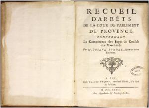 Recueils de factums imprimés issus de la bibliothèque des Portalis, avec de nombreuses annotations de Jean-Etienne-Marie Portalis (1725-1789)