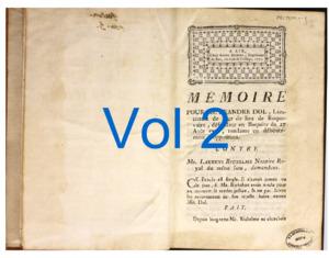 Recueils de factums imprimés issus de la bibliothèque des Portalis, avec de nombreuses annotations de Jean-Etienne-Marie Portalis (1771-1782)