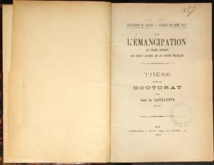 De l'émancipation en droit romain et en droit français : thèse présentée et soutenue devant la faculté de droit d'Aix