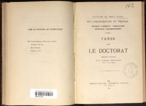 De l'organisation du travail : collèges d'artisans, corporations, syndicats professionnels : thèse présentée et soutenue devant la faculté de droit d'Aix