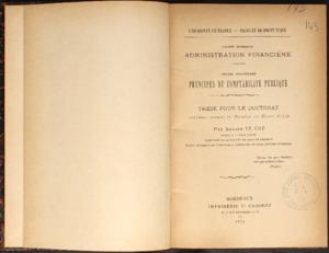 Droit romain : administration financière ; Droit français : principes de comptabilité publique : Thèse pour le doctorat...