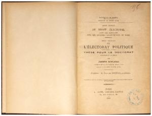 Droit romain : du droit électoral dans ses rapports avec les diverses constitutions de Rome ; Droit français : de l'électorat politique : thèse pour le doctorat...