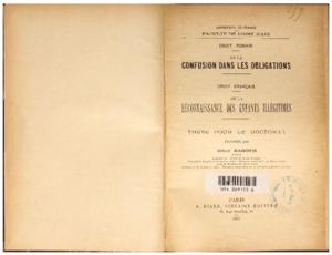 De la confusion dans les obligations en droit romain ; De la reconnaissance des enfants illégitimes en droit français : thèse présentée et soutenue devant la faculté de droit d'Aix