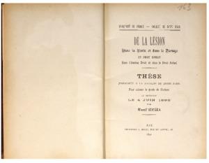 De la lésion dans la vente et dans le partage en droit romain, dans l'ancien droit et dans le droit actuel : thèse présentée et soutenue le 4 juin 1892