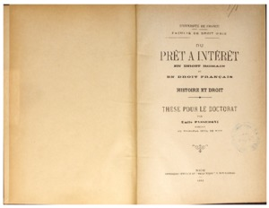 Du prêt à intérêt en droit romain et en droit français : histoire et droit : thèse pour le doctorat