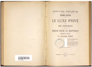 luxe (Le) privé et ses fonctions : économie politique