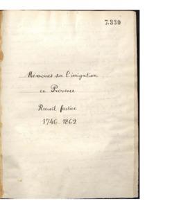 Mémoires sur l'irrigation en Provence : recueil factice (1746-1862)
