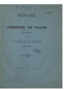 Mémoire pour la Commune de Salon défenderesse contre la Compagnie de Craponne demanderesse