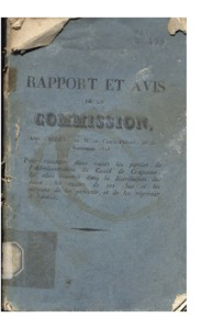 Rapport de la commission, nommée par arrêté de M. le comte-préfet du 30 septembre 1818, pour constater toutes les parties de l'administration du Canal de Craponne, et sa situation relativement à tous ceux qui usent ou abusent de l'eau du canal, terminé le 20 août 1823, par MM. Bonaud, syndic, Président, Roux fils, Benoit et Doutreleau