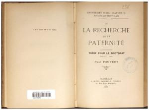 De la recherche de la paternité : thèse pour le doctorat