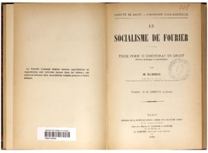 socialisme (Le) de Fourier : thèse pour le doctorat en droit