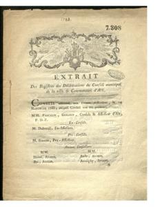 Extrait des registres des délibérations du Conseil municipal de la ville et Communauté d'Aix, le 14 nov. 1788