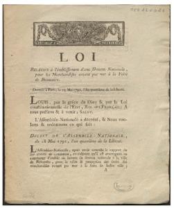 Loi relative à l'établissement d'une douane nationale, pour les marchandises venant par mer à la Foire de Beaucaire. Donnée à Paris, le 23 mai 1792, l'an quatrième de la liberté. Louis, par la grâce de Dieu & par la loi constitutionnelle de l'état, Roi des français : a tous présens & à venir ; salut. L'Assemblée-nationale a décrété, & nous voulons & ordonnons ce qui suit : Décret de l'Assemblée-nationale, du 18 mai 1792, l'an quatrième de la liberté