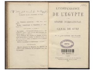 indépendance (L') de l'Égypte et le régime international du Canal de Suez
