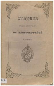 Règlement et statuts du Mont-de-piété d'Avignon