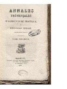 Annales provençales d'agriculture pratique et d'économie rurale